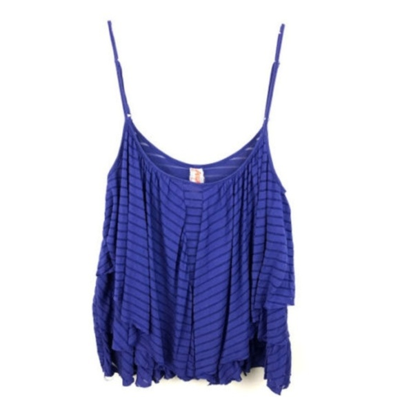 Free People Tops - Free People Tank Cold Shoulder Striped Blue Cami M